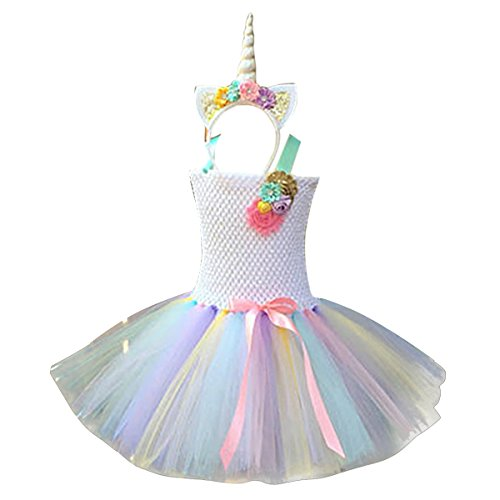 51acbe25e7d Freebily Kids Girls Rainbow Unicorn Tutu Dress with Headband Birthday Party  Outfit Princess Halloween Cosplay Costumes White 3-4 Years