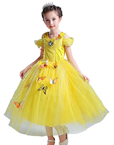 Princess Butterfly Girls Snow Queen Ball Gown Fancy Dress Halloween Costume Party Outfit ((130) 5-6 years Yellow)  sc 1 st  Masquerade Costumes & Princess Butterfly Girls Snow Queen Ball Gown Fancy Dress Halloween ...