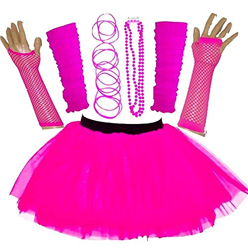 87efe6a165 New Adult Women's 80S Fancy Dress NEON UV Tutu Skirt Set Hen Party  Accessories (Pink, UK 16-20)